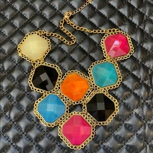 Anthropology Resin Gemstone Sparkle Bling Necklace